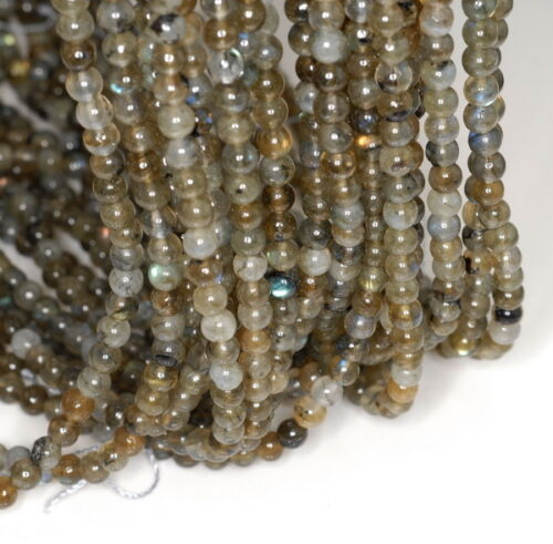 4MM LABRADORITE GEMSTONE GRADE B ROUND 4MM LOOSE BEADS 15.5/""