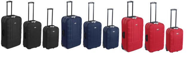 Hard Wearing Polyester Suitcase with 2 Skate Wheels - Choice of Size and Colour