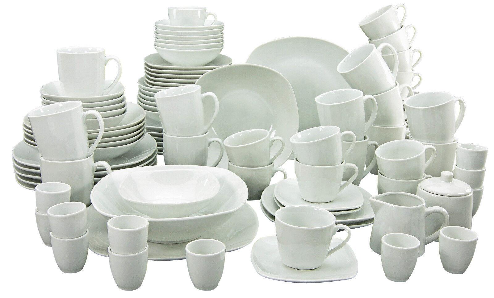 Square Blanc 100tl Combi Service Vaisselle 12 Personnes Porcelaine Creatable 13779 Go