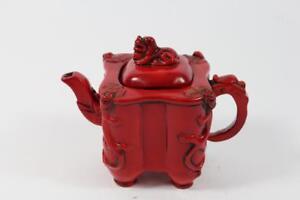 Teekanne-Lack-Rotlack-Drachen-signiert-China