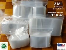 3x 4 Clear 2 Mil Top Lock Zip Seal Bags Poly Plastic Reclosable Small Baggies