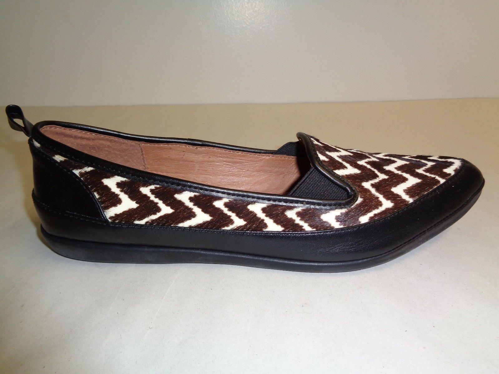 Adrianna Papell Size 6 M LENNOX Black Chevron Haircalf Flats New Womens shoes