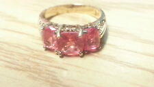 Beautiful Red Pink CZs Princess Gold Overlay Ring 925 Sterling *Size 9.5 *D904