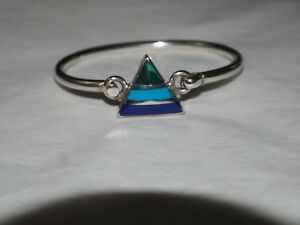 Vintage-Taxco-TB-80-Gemstone-inlay-Bangle-sterling-Silver-HALLMARKED-925