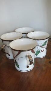 Lenox Holiday Nouveau Platinum White Mugs Set of 4  New