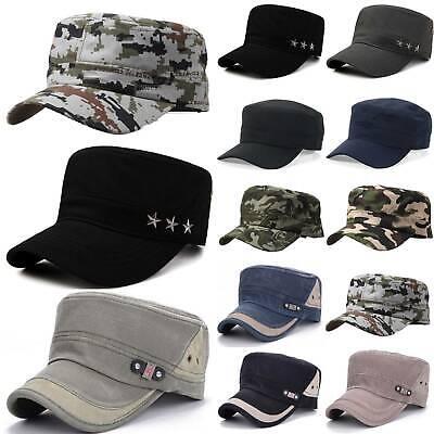 Mens Trucker Military Army Camo Wide Brim Flat Hats Cadet Patrol Sun Cap Outdoor