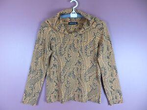 100 maglione Donna York New Sz Paisley cappuccio cashmere Csm1136 M collo a Jones con nIxwn6