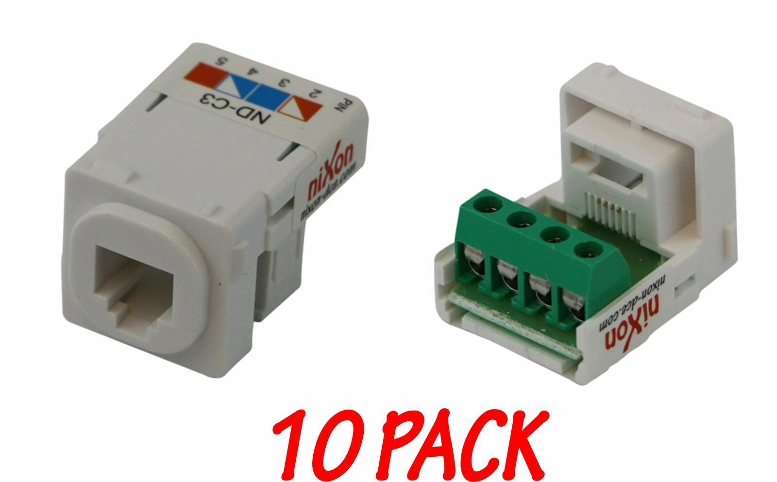 10 X Telephone Mech Telco Phone Cat3 Rj11 12 Inserts Jacks Wiring A Jack With Cat 3 Screw Type