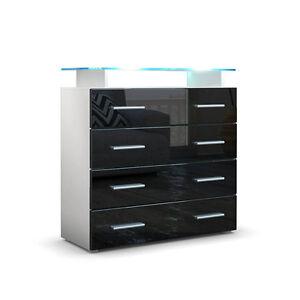 Dettagli su Cassettiera credenza moderna Stay madia bianca mobile soggiorno  ufficio luci led