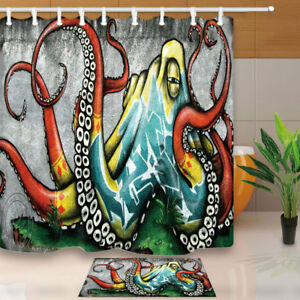 Image Is Loading Octopus Graffiti Wall Art Shower Bathroom Curtain Decor