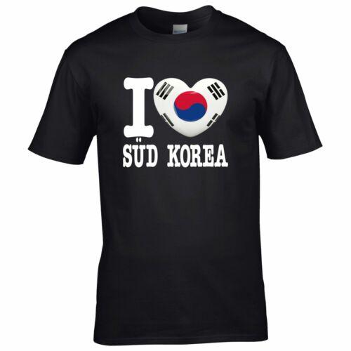 I LOVE SÜD KOREA Herz Heart Liebe Asien WM Asia FanShirts4u Kinder T-Shirt