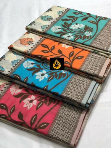 Saree Silk Indian Sari Designer Wear Pakistani Embroidery Wedding Heavy Print Sa