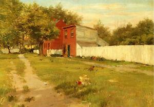 Dream-art-Oil-painting-art-William-Merritt-Chase-The-White-Fence-in-landscape