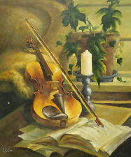 """Oil Painting of Still Life Candle on Stand Violin on Book in Living Room 20x24"""""""