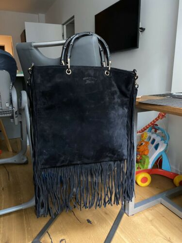 Authentic Gucci Bamboo Black Suede Fringe Shopper