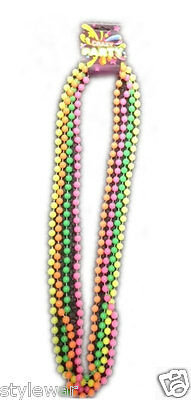 "Neon Bead Rope Necklace 1980/'S Fancy Dress Party 48/"" Raves Hen Nights 80/'S"