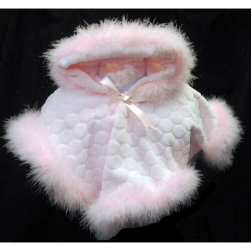Lovely Baby Girl Pink Soft Fleece Poncho Maribu trim//Hooded// 0-3 Months to 24M