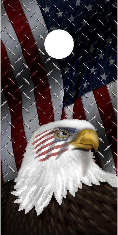 American flag diamond plate eagle head cornhole board game decal wraps