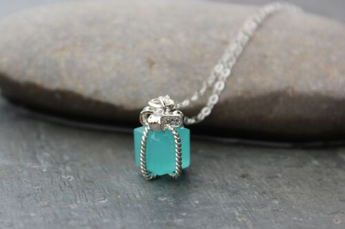 Tiny present necklace Dark aqua blue gift box charm on sterling silver chain