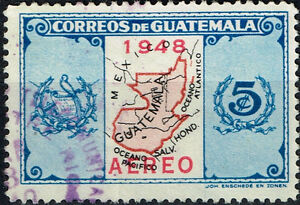 Guatemala Country map 1948 stamp Airmail