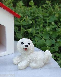 Miniature Dollhouse FAIRY GARDEN Accessories ~ Mini White Lhasa Apso Dog ~ NEW