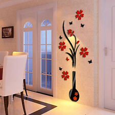 3D wall sticker acrylic DIY vase flower decal wall decorations living for room