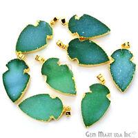 Green Color Druzy 29x15 Mm Arrow Head Necklace Pendant Gold Edged, Druzy Jewelry