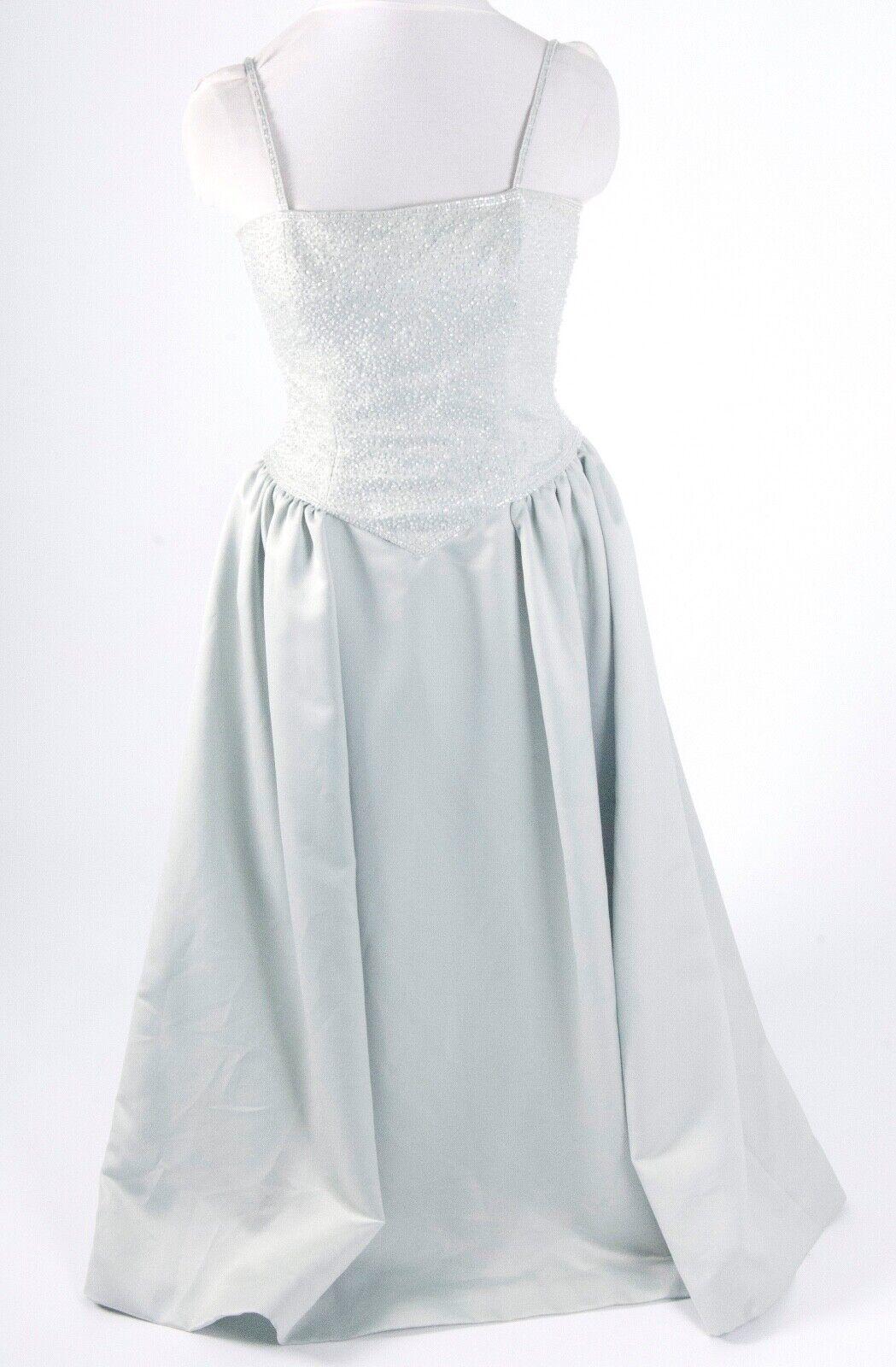 Green Gray Satin EveningBall Gown Formal Dress sz 8 Oleg Cassani BlackTie BEADED