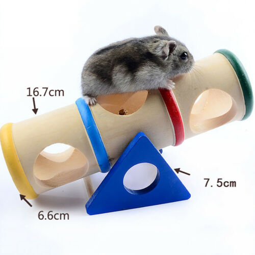Wooden Hamster Pet Seesaw Barrel Tube Tunnel Cage House Hide Play Climing Toy US