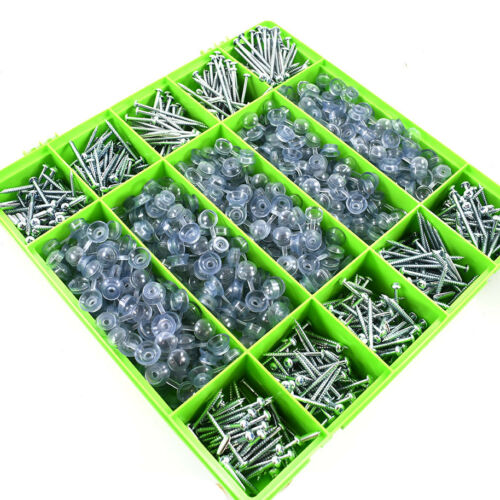 Assortiment de 1000 Ondulé Toiture Vis /& Clear Sangle Caps pour feuille de toiture kit