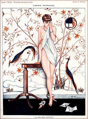 1920s La Vie Parisienne L/'epouvantail Spy Nude Girl France French Travel Poster