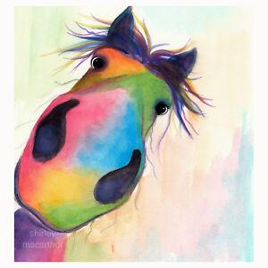 Pferd-Drucke-Pferd-Kunst-Wand-Kunst-ORIGINAL-Gemaelde-Morello-Shirley-MacArthur