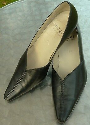 HOGL Gatito Zapato de Tacón Alto De Cuero Negro Tamaño 5.5