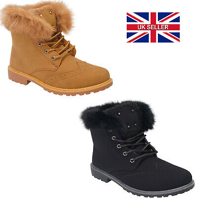 LADIES BOYS WOMENS LACE UP GRIP SOLE WARM WINTER ANKLE LACE UP BOOTS SIZE 3-8