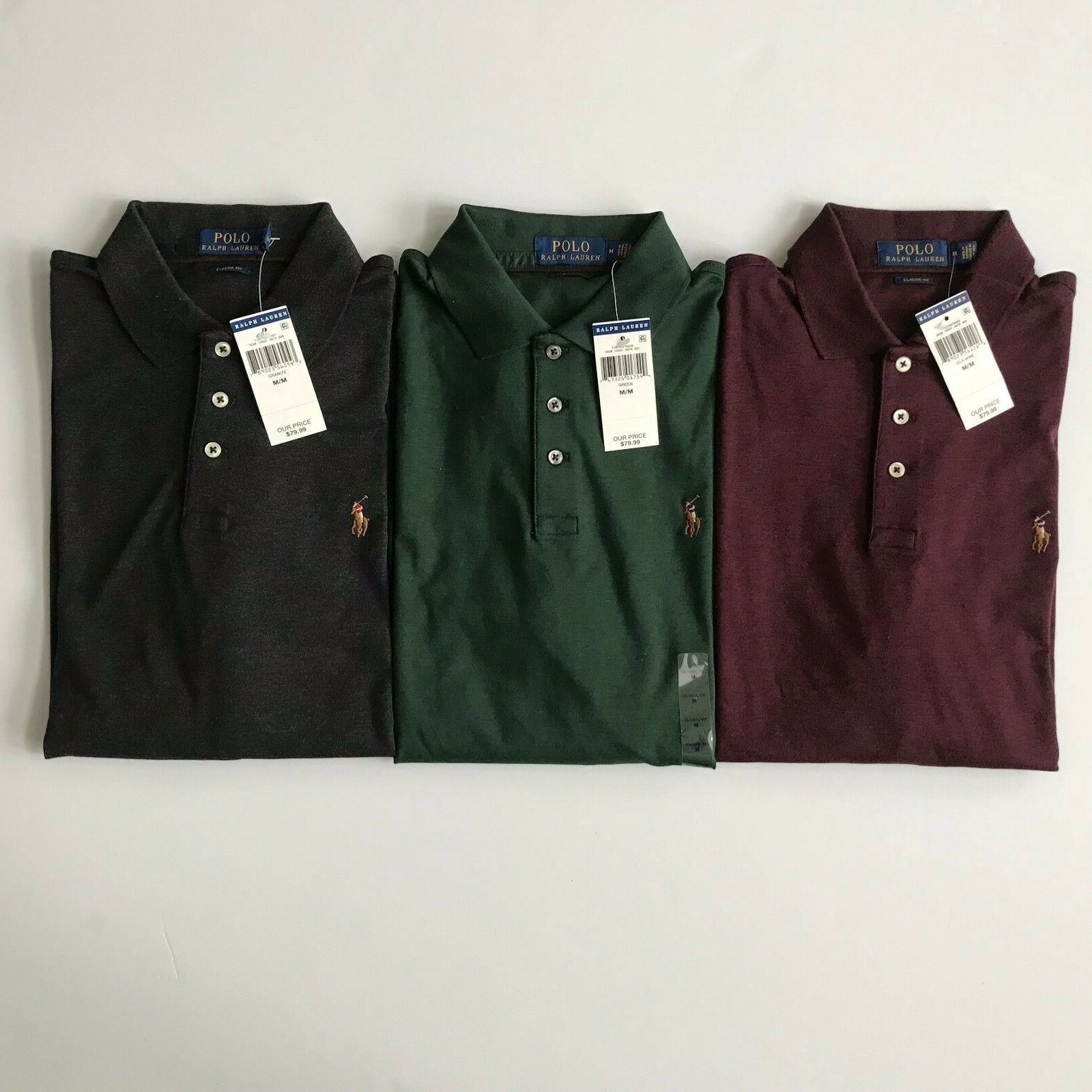 NWT Polo Ralph Lauren Men's Long Sleeve Solid Classic Fit Soft Touch Polo Shirt