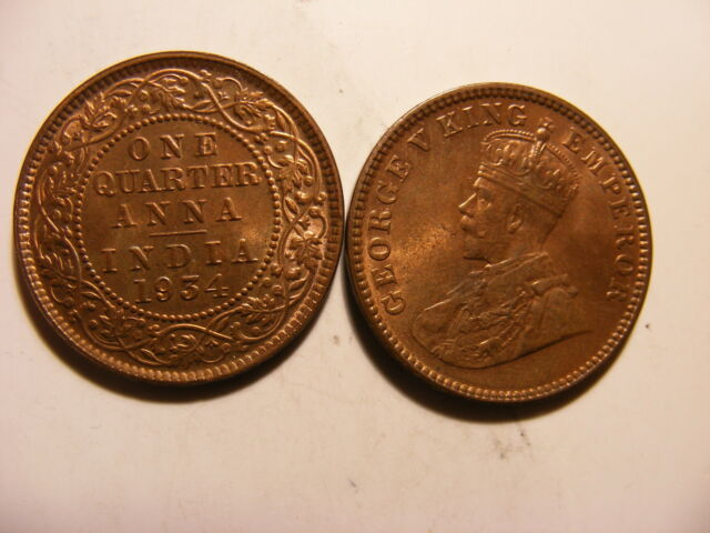 India-British 1/4 Anna, 1934, Red & Brown Uncirculated