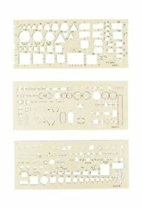 Koh-I-Noor Electro Templates Set of 3 Drafting Technical Drawing Stencil Symbols