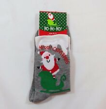 Merry Christmas Santa Sled Presents Crew Socks Womens 9-11 Sparkle Gray Grey