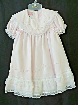 NWT Will/'beth Pink Color Heirloom Lace 2pc Dress Newborn Bloomers Girls Frilly