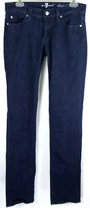 7-For-All-Mankind-Womens-Blue-Cotton-Blend-Sz-29-Straight-Leg-Jeans