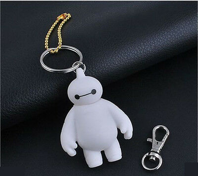 "1 PCS Cartoon Big Hero White Baymax 6cm/2.4"" Silicone Double Faced Keychain"