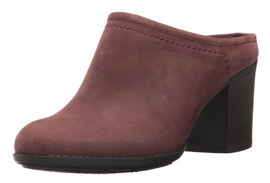 Clarks Collection Enfield Sandy Leder Stacked Heel Damens Mules