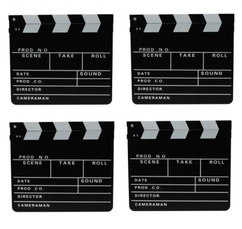 4x Filmklappe Regieklappe Clapperboard Regie Film Hollywood Klappe 30x26cm