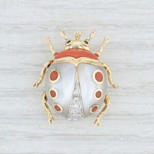 prix de liquidation promotion spéciale construction rationnelle Details about Asch Grossbardt Ladybug Brooch- 14k Gold Diamonds Emeralds  Coral Mother of Pearl