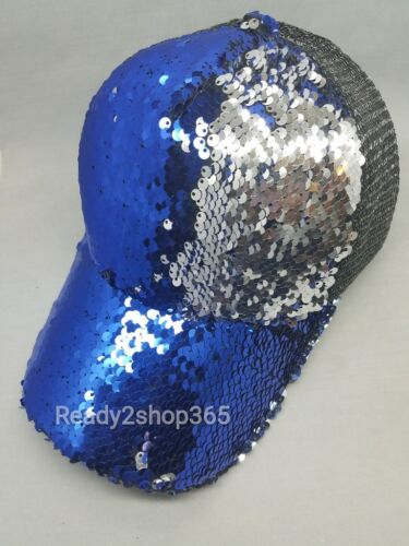 Hip Hop Snapback Two Tone Baseball Cap Sequins Mermaid Scales Hat Women Summer