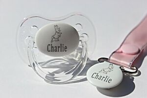 PERSONALISED DUMMY **CHERRY /& AVENT STYLE TEAT** MORE COLOURS //PINK//WHITE//BLUE