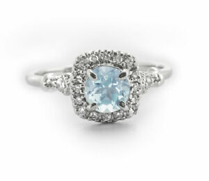 925-Sterling-Silver-Ring-Natural-Blue-Aquamarine-Sparkling-Halo-Size-4-11