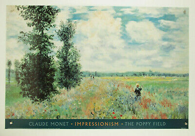 Claude Monet The Poppy Field high quality fine art impressionism print 36x24/""