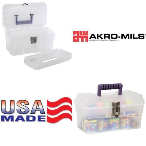 Akro-Mils 09514 Cft 14-Inch Plastic Art Supply Craft Storage Tool Box Semi-Clear