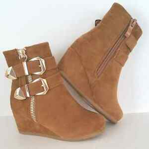 Girls Tan Low Wedge Heel Casual/ Dress Ankle Boots Booties Youth Sizes 9-4 US